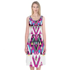 Geometric Play Midi Sleeveless Dress