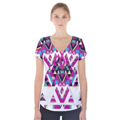 Geometric Play Short Sleeve Front Detail Top