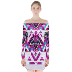Geometric Play Long Sleeve Off Shoulder Dress