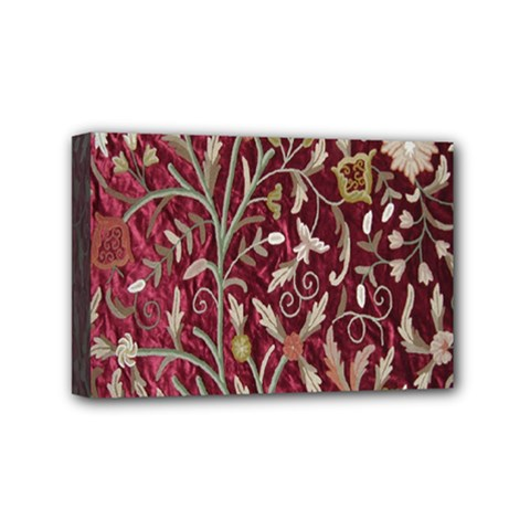 Crewel Fabric Tree Of Life Maroon Mini Canvas 6  x 4