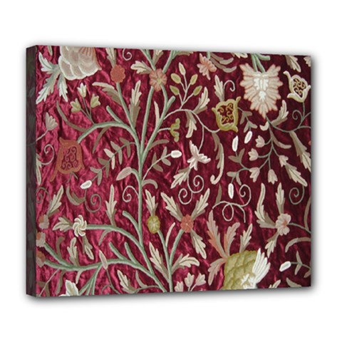 Crewel Fabric Tree Of Life Maroon Deluxe Canvas 24  X 20