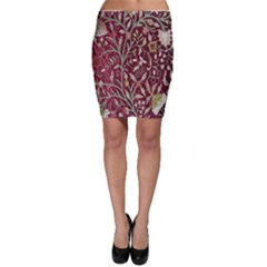 Crewel Fabric Tree Of Life Maroon Bodycon Skirt