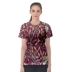Crewel Fabric Tree Of Life Maroon Women s Sport Mesh Tee