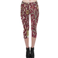 Crewel Fabric Tree Of Life Maroon Capri Leggings