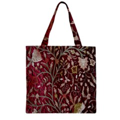 Crewel Fabric Tree Of Life Maroon Zipper Grocery Tote Bag