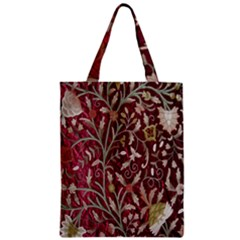 Crewel Fabric Tree Of Life Maroon Zipper Classic Tote Bag