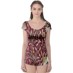 Crewel Fabric Tree Of Life Maroon Boyleg Leotard