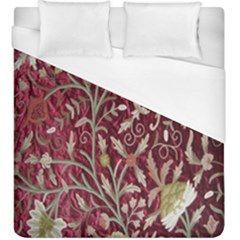 Crewel Fabric Tree Of Life Maroon Duvet Cover (king Size)