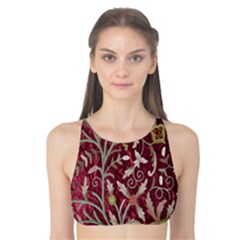 Crewel Fabric Tree Of Life Maroon Tank Bikini Top