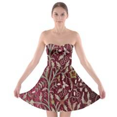 Crewel Fabric Tree Of Life Maroon Strapless Bra Top Dress
