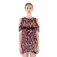 Crewel Fabric Tree Of Life Maroon Shoulder Cutout One Piece