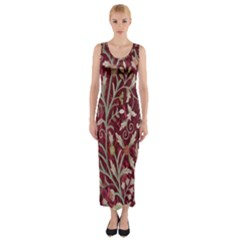 Crewel Fabric Tree Of Life Maroon Fitted Maxi Dress