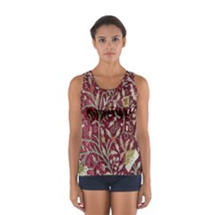 Crewel Fabric Tree Of Life Maroon Women s Sport Tank Top