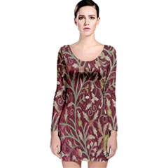 Crewel Fabric Tree Of Life Maroon Long Sleeve Velvet Bodycon Dress