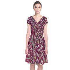 Crewel Fabric Tree Of Life Maroon Short Sleeve Front Wrap Dress