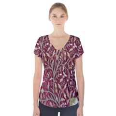 Crewel Fabric Tree Of Life Maroon Short Sleeve Front Detail Top