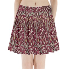 Crewel Fabric Tree Of Life Maroon Pleated Mini Skirt