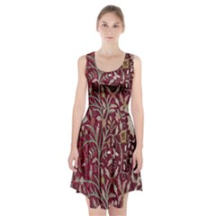 Crewel Fabric Tree Of Life Maroon Racerback Midi Dress