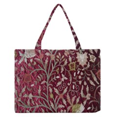 Crewel Fabric Tree Of Life Maroon Medium Zipper Tote Bag
