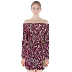 Crewel Fabric Tree Of Life Maroon Long Sleeve Off Shoulder Dress