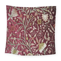 Crewel Fabric Tree Of Life Maroon Square Tapestry (large)