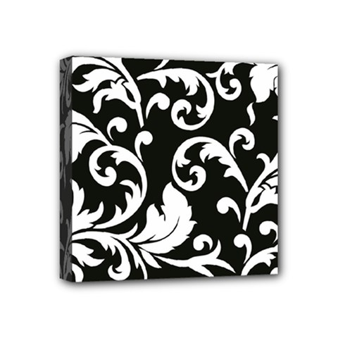 Vector Classical trAditional Black And White Floral Patterns Mini Canvas 4  x 4