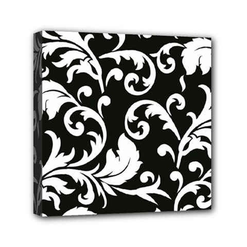 Vector Classical Traditional Black And White Floral Patterns Mini Canvas 6  X 6