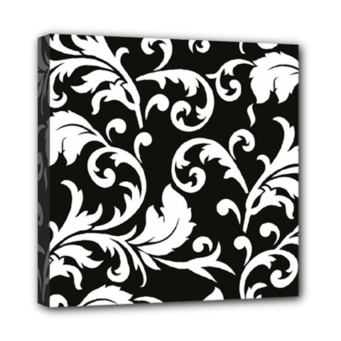 Vector Classical trAditional Black And White Floral Patterns Mini Canvas 8  x 8