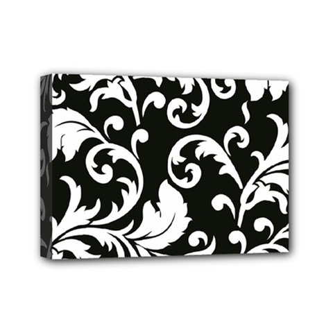 Vector Classical Traditional Black And White Floral Patterns Mini Canvas 7  X 5