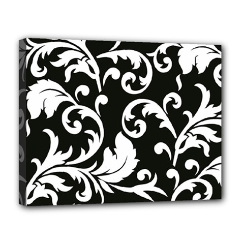 Vector Classical Traditional Black And White Floral Patterns Canvas 14  X 11