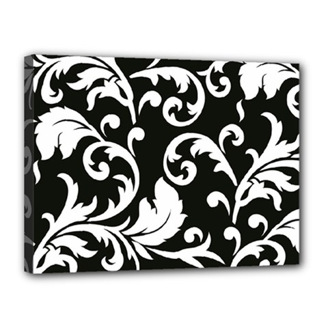 Vector Classical Traditional Black And White Floral Patterns Canvas 16  X 12