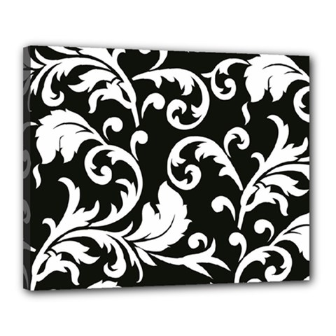 Vector Classical Traditional Black And White Floral Patterns Canvas 20  X 16