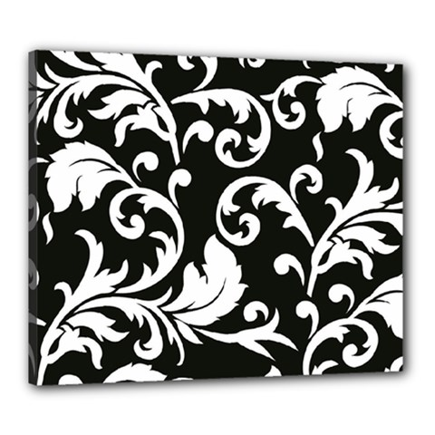 Vector Classical trAditional Black And White Floral Patterns Canvas 24  x 20