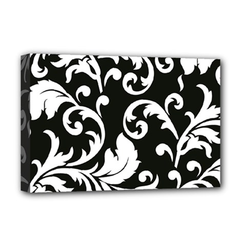 Vector Classical Traditional Black And White Floral Patterns Deluxe Canvas 18  X 12