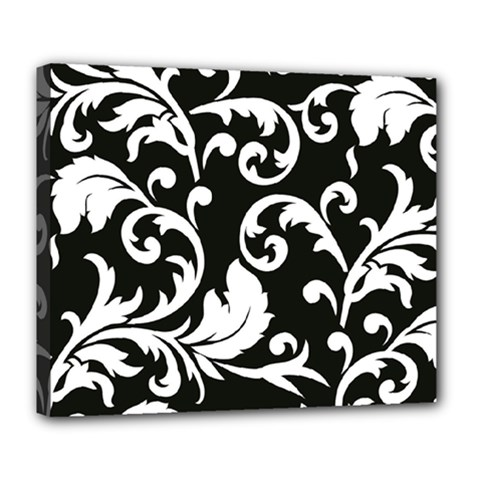 Vector Classical Traditional Black And White Floral Patterns Deluxe Canvas 24  X 20