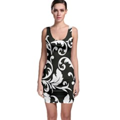 Vector Classical Traditional Black And White Floral Patterns Sleeveless Bodycon Dress
