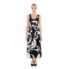 Vector Classical trAditional Black And White Floral Patterns Sleeveless Maxi Dress