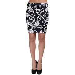 Vector Classical trAditional Black And White Floral Patterns Bodycon Skirt