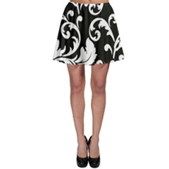 Vector Classical Traditional Black And White Floral Patterns Skater Skirt