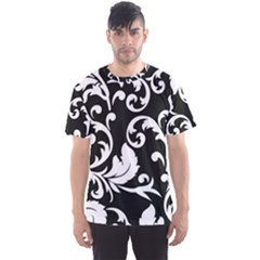 Vector Classical Traditional Black And White Floral Patterns Men s Sport Mesh Tee