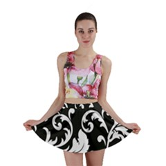 Vector Classical trAditional Black And White Floral Patterns Mini Skirt