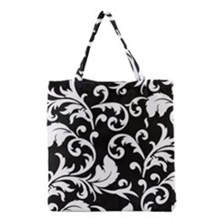 Vector Classical Traditional Black And White Floral Patterns Grocery Tote Bag