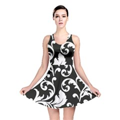 Vector Classical Traditional Black And White Floral Patterns Reversible Skater Dress