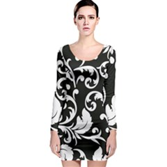 Vector Classical Traditional Black And White Floral Patterns Long Sleeve Bodycon Dress