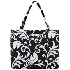 Vector Classical Traditional Black And White Floral Patterns Mini Tote Bag
