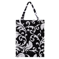 Vector Classical Traditional Black And White Floral Patterns Classic Tote Bag