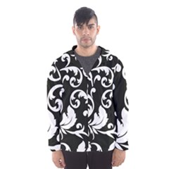 Vector Classical Traditional Black And White Floral Patterns Hooded Wind Breaker (men)