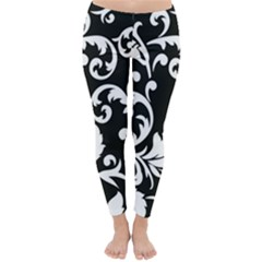 Vector Classical Traditional Black And White Floral Patterns Classic Winter Leggings