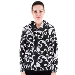 Vector Classical Traditional Black And White Floral Patterns Women s Zipper Hoodie