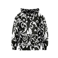Vector Classical trAditional Black And White Floral Patterns Kids  Zipper Hoodie